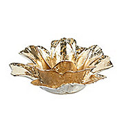 Gold Glass Flower Christmas Tea Light Holder - Christmas Candle Holder
