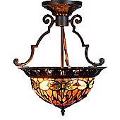 Arcade 41cm Tiffany Two Light Dragonfly Ceiling Light