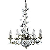 Chandelier Ceiling Lighting Fitting with Maple Shaped Crystal Leaves