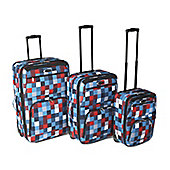 Set of 3 piece Blue Square Eva Luggage