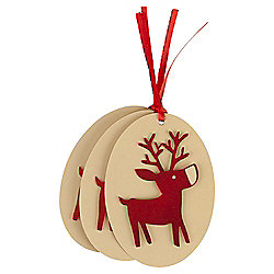 Kraft Red Reindeer Christmas Gift Tags, 3 pack