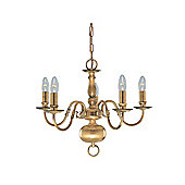 Five Arm Traditional Ceiling Pendant Light in Antique Brass
