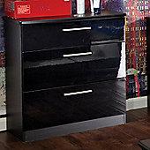 Welcome Furniture Knightsbridge 3 Drawer Chest - Black - Aubergine