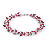 QP Jewellers 5.5in 16.50ct Ruby Butterfly Bracelet in 14K White Gold