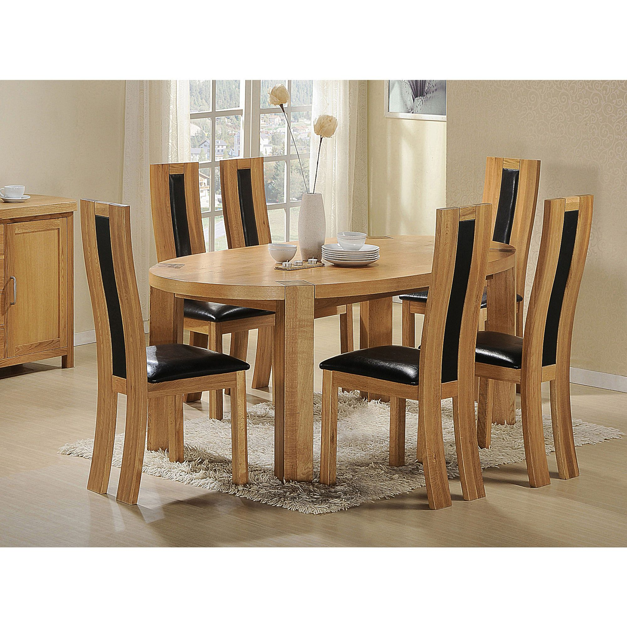 Heartlands Zeus Solid Oak Oval 7 Piece Dining Set at Tesco Direct
