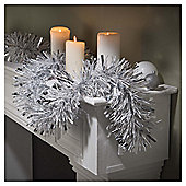 Festive 10M X 150Mm Fine Cut Tinsel - Silver / White
