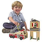 Melissa & Doug Whittle World Wooden Fire Rescue Playset