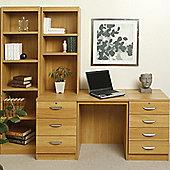 Enduro 1050Home Office Desk / Workstation with Bookshelves - English Oak