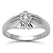 Jewelco London 9 Carat White Gold 10pts Gents Single Stone Diamond Ring