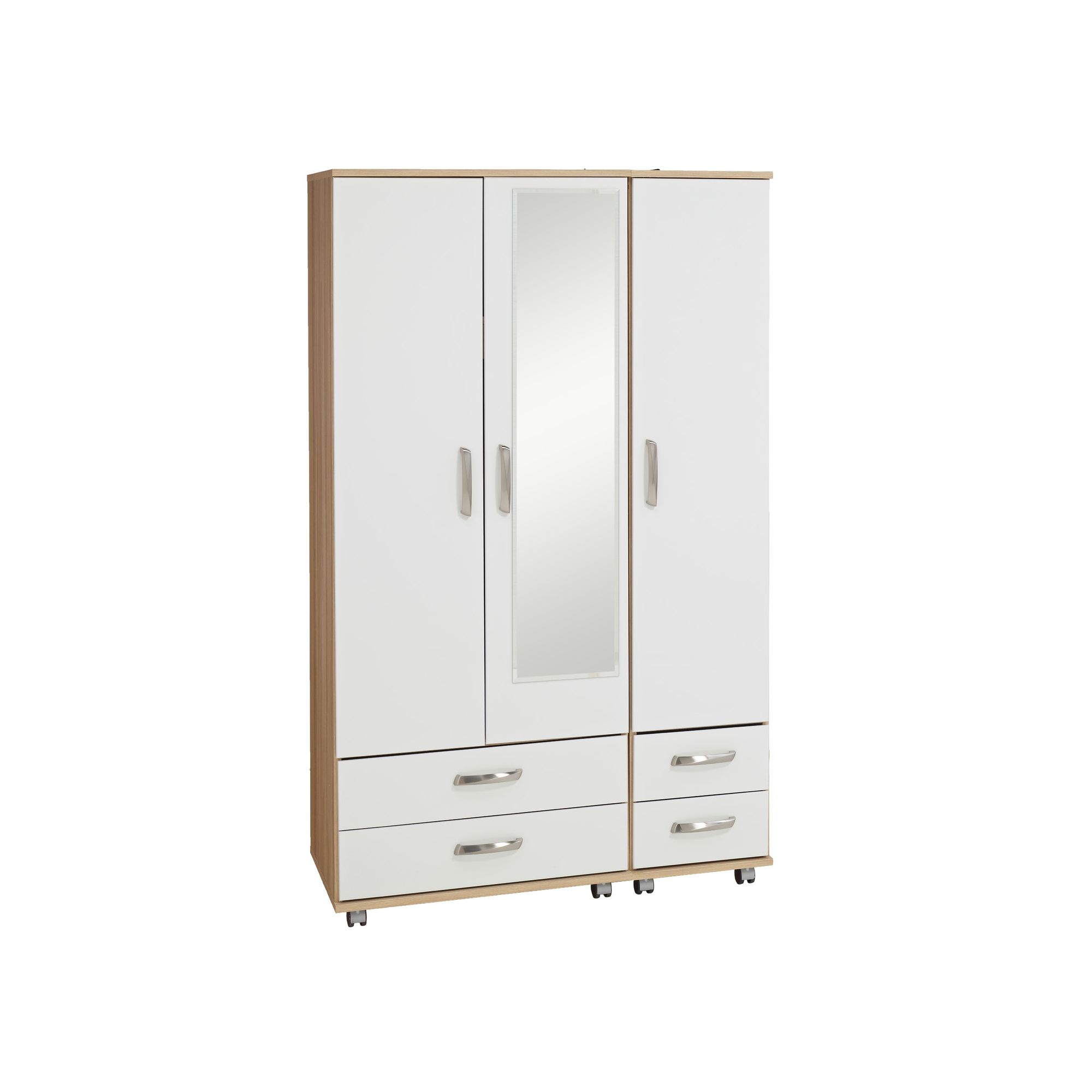 Ideal Furniture Regal 4 Drawer with Mirror Wardrobe in white at Tesco Direct