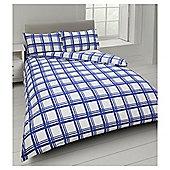 Tesco Check Print Duvet Cover And Pillowcase Set - Blue