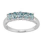 Gemondo Sterling Silver 0.88ct Natural Blue Topaz Classic Five Stone Style Ring