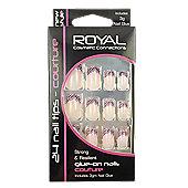Royal 24 pcs Couture Nail Tips-Pink Swirls
