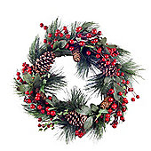 Large Artificial Fir Tree Christmas Wreath with Berries & Pine Cones