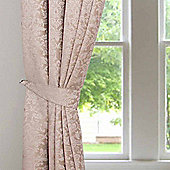 Homescapes Latte Velvet Jacquard Curtains Tie Backs Pair