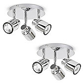 Pair of Benton Three Way Round Ceiling Spotlights in Chrome
