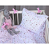 Cot Bed Duvet Cover Set 100% Cotton Percale – Twinkling Pink Stars