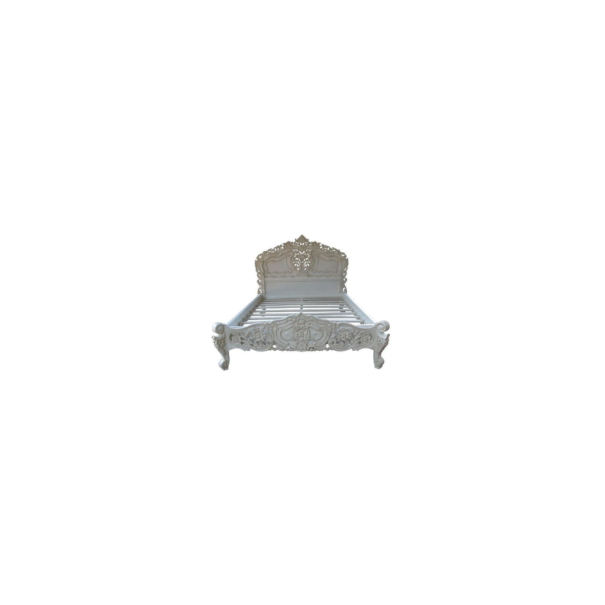 Lock stock and barrel Mahogany Carved Rococo Bed in Mahogany - Double - Antique White at Tescos Direct