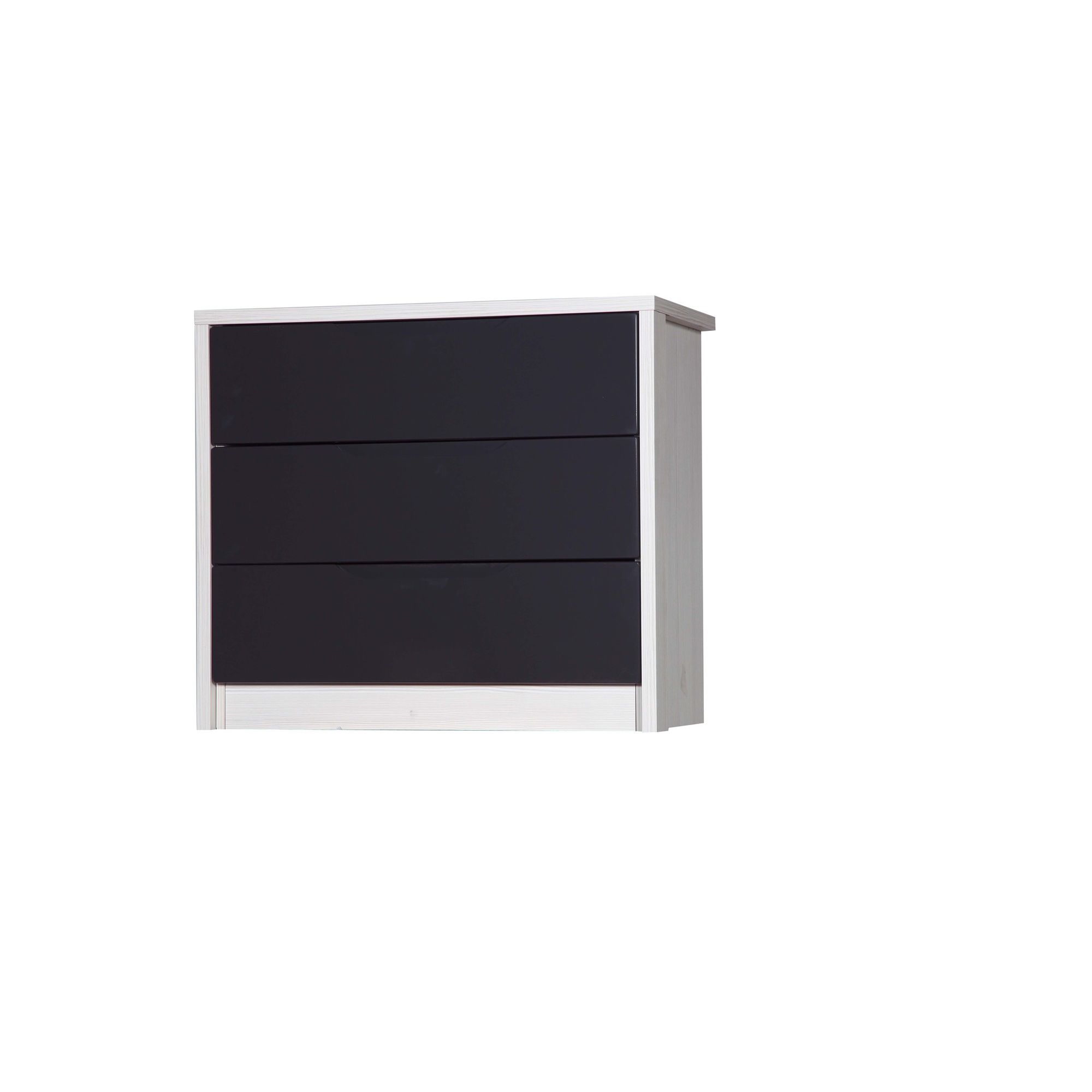 Alto Furniture Avola 3 Drawer Chest - White Avola Carcass With Grey Gloss at Tesco Direct
