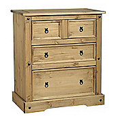 Corona Mexican 2+2 (4) Drawer Chest Distressed Waxed Pine