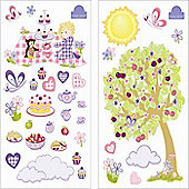 Butterfly and Owl Tea Party Bedroom Stickers