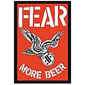 Black Wooden Framed Fear More Beer Poster