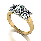 18ct Gold 3 Oval Stone Moissanite Lucern Setting Ring