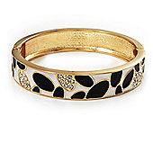 Black & White Crystal Pattern Hinged Bangle Bracelet (Gold Tone)