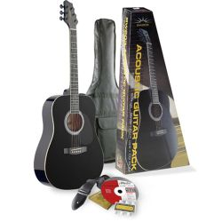 Rocket Dreadnought Acoustic Guitar Pack Black