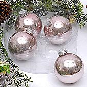 Pack of 4x 10cm Oyster Glass Balls Enamel Finish