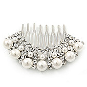 Bridal/ Wedding/ Prom/ Party Dome Shaped Rhodium Plated White Pearl Bead and Swarovski Crystal Hair Comb - 65mm