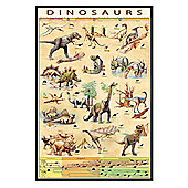 Dinosaurs Jurassic Age Timeline Gloss Black Framed Species Poster