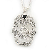 Statement Crystal 3D 'Skull' Pendant With Long Silver Tone Rope Style Chain - 72cm Length/ 5cm Extension