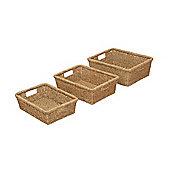 Wicker Valley Seagrass Oblong Basket 3 Piece Set