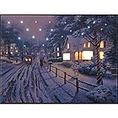 Thomas Kinkade Hometown at Christmas illuminated Wall Canvas 40x30cm
