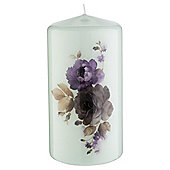Tesco Floral Pillar Candle, Mint
