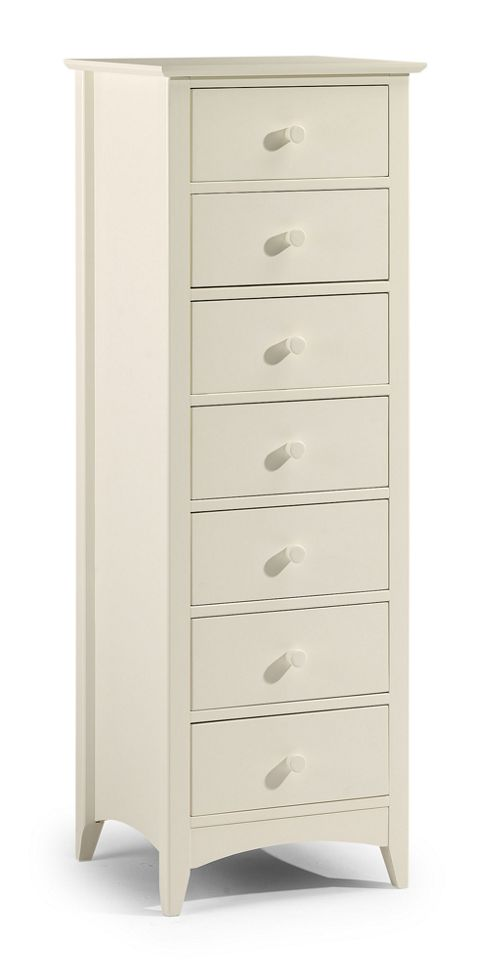Julian Bowen Cameo 7 Drawer Narrow Chest in Off White