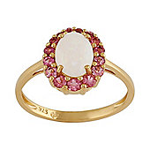 Gemondo Gold Plated Sterling Silver 0.69ct Opal & 0.34ct Pink Tourmaline Cluster Ring