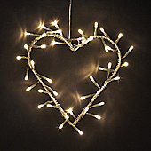 Silver Metal Heart Wreath with Warm White LED Fairy Lights