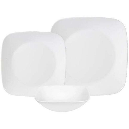 buy corelle square 18 piece dinnerware set in pure white. Black Bedroom Furniture Sets. Home Design Ideas