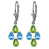 QP Jewellers Blue Topaz & Peridot Chandelier Earrings in 14K White Gold