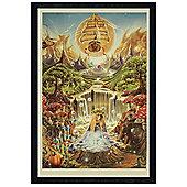 Black Wooden Framed Labyrinth Falls Poster