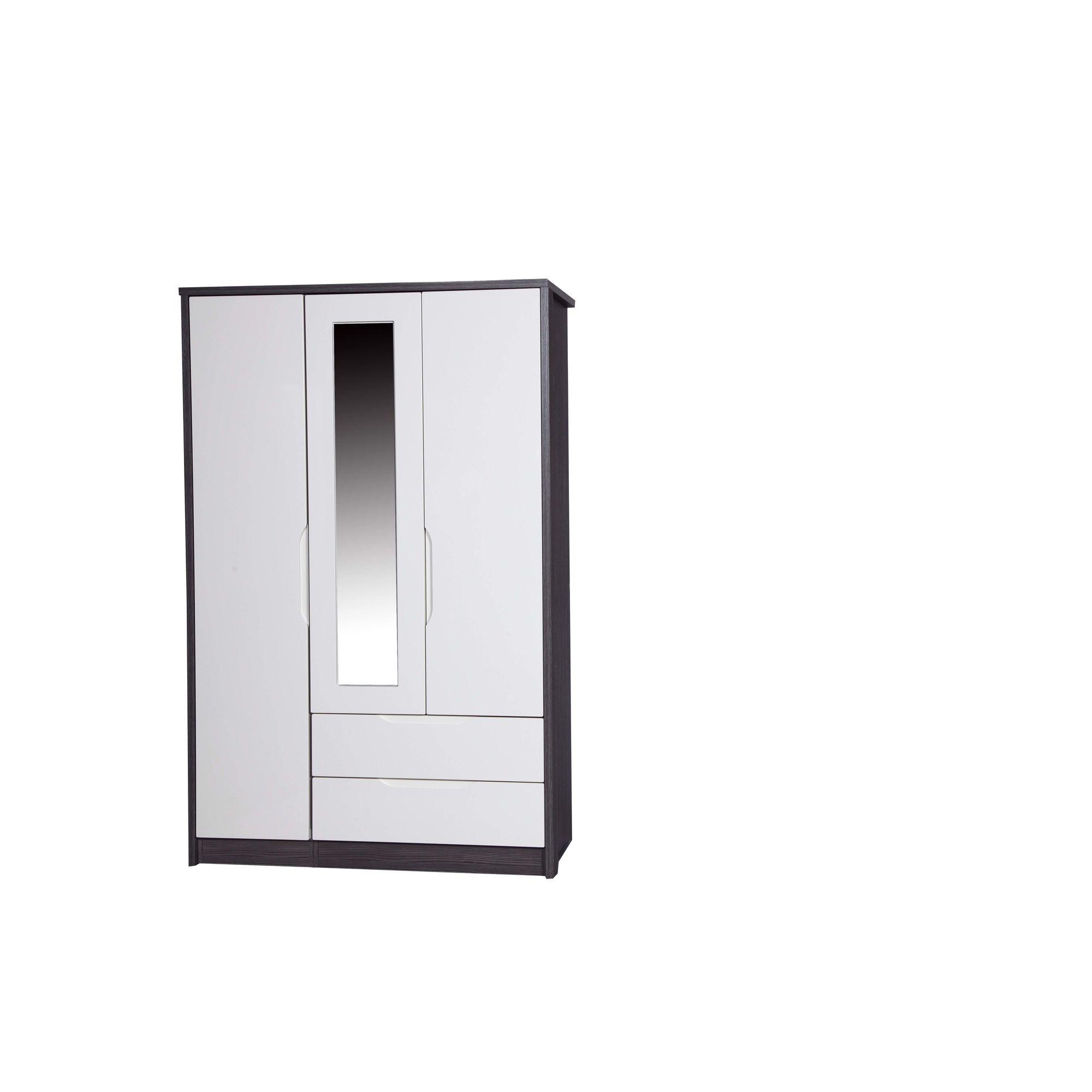 Alto Furniture Avola 3 Door Combi Wardrobe with Mirror - Grey Avola Carcass With Cream Gloss at Tesco Direct