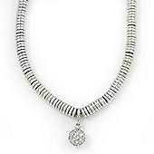 Rhodium Plated Swarovski Crystal Ball Necklace - 38cm Length/ 7cm Extension