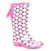 Brantano Bow Back Heart Pink Junior Girls Wellington Boot - Pink