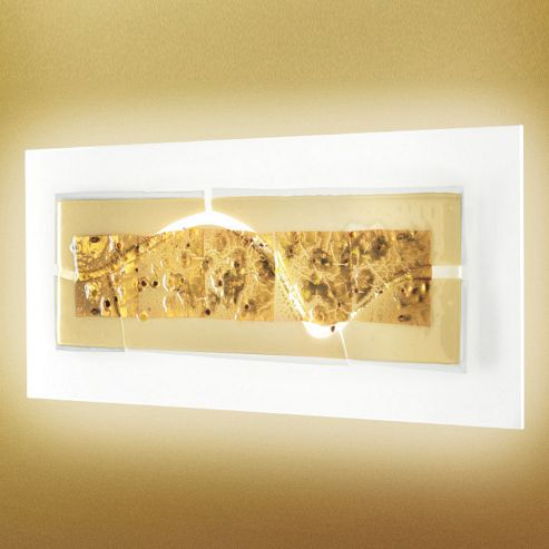 Leucos Laguna Wall Light in P74 2G11 Decoro Canal - Amber Gold Leaf and Glass Beads