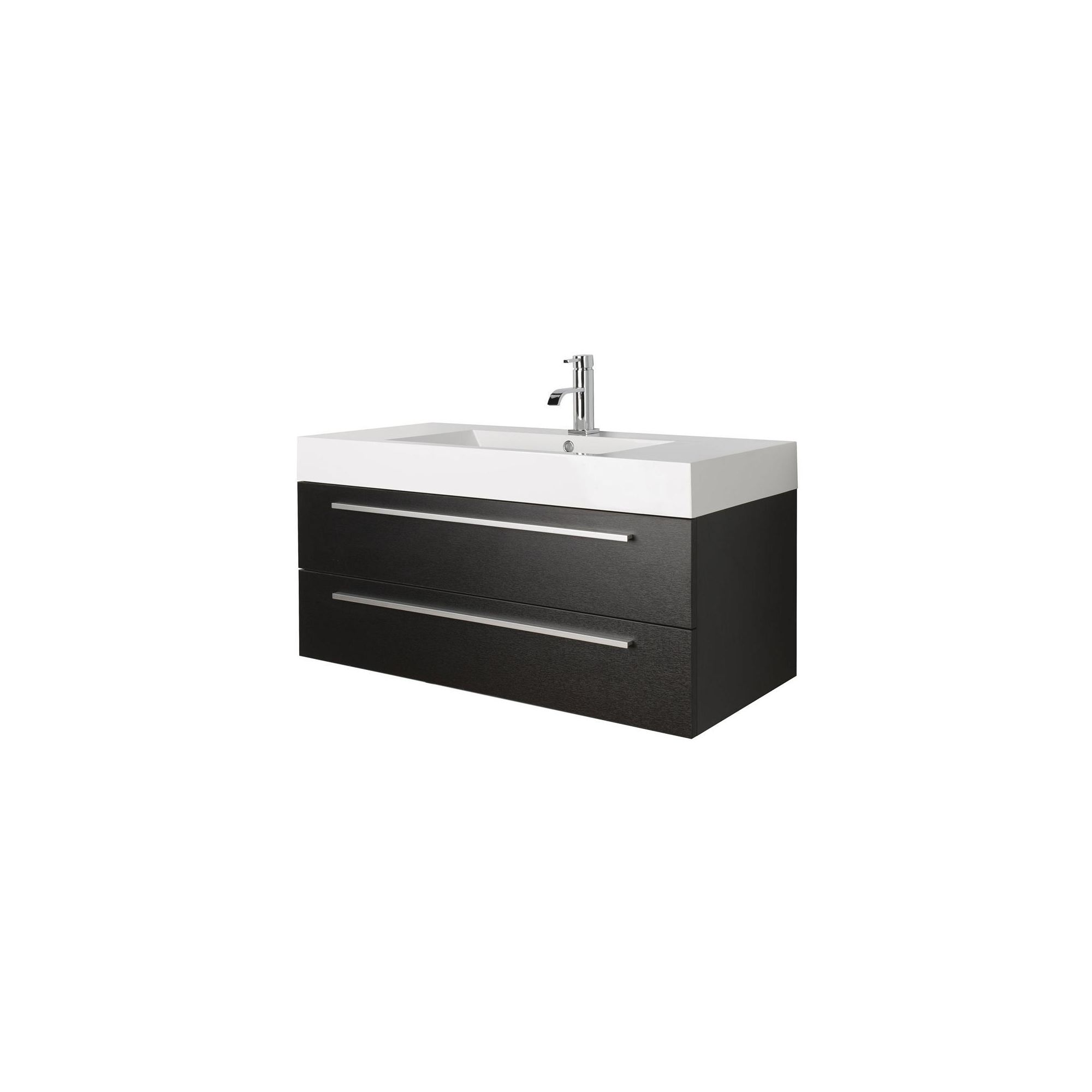 Premier Relax Wall Mounted Basin and Cabinet Black Wood Finish