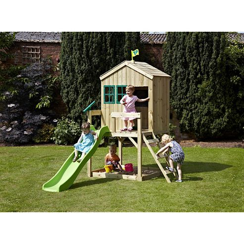 TP Forest Lodge Wooden Playhouse with Slide