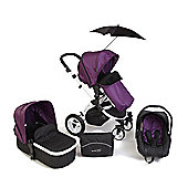 Your Baby Alaska Purple 3 In 1 Pram/Travel System/Car Seat/Carrycot/Pushchair/Stroller