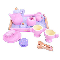 Bigjigs Toys BJ398 Wooden Play Food Candy Floss Tea Tray Set